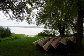 Canoes at Port Perry. Photo by Barbara Howe