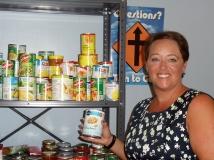 Jonna Pedersen-Killeen at the foodbank at Brooklin United church. Photo by Barbara Howe.