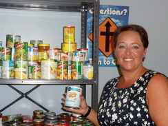 Jonna Pedersen-Killeen at the foodbank at Brooklin United church. Photo by Barbara Howe.