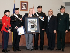 Presentation by the Ontario Regiment to Mayor John Henry. Photo by Barbara Howe
