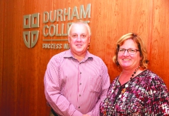 Ron Dalton spoke to students at DC about his his work advocating for others who have been wrongfully accused. With Jan Arbour DC professor who organized the seminar. Photo by Barbara Howe.