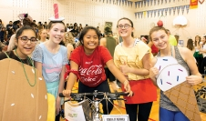 Sinclair Secondary school Grade 11 students, (L-R) Khushi Pandey, Claire Koch, Rochelle Bernal, Alex Rudkins and Jasmine Kurtz team up to raise funds for CTCACF in memory of André Boothe. Photo by Barbara Howe