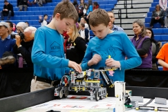 Mackenzie Bailey and David Feenstra at the FIRST Lego League provincial championships at Durham College. Photo by Barbara Howe