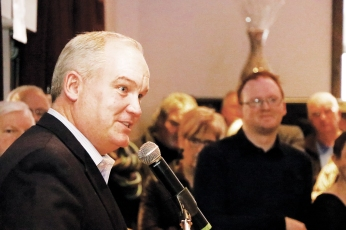 Durham MP, Erin O'Toole, speaks to a crowd at The Venue, Peterborough,Ont. Photo by Barbara Howe