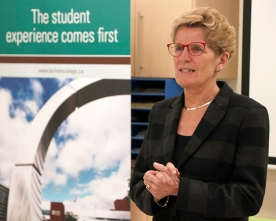Premier Kathleen Wynne speaks to DC Early Childhood Education students at DC during her tour of post secondary colleges.