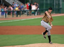 Wes Benjamin pitches against Myrtle Beach Pelicans v Down East Wood Ducks
