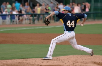 Casey Bloomquist pitches. Myrtle Beach Pelicans v Down East Wood Ducks