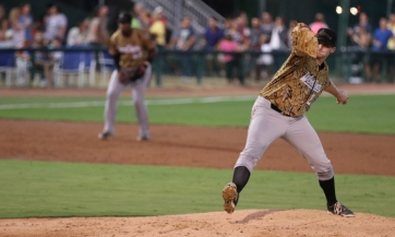 Casey Bloomquist pitches for Myrtle Beach Pelicans v Down East Wood Ducks