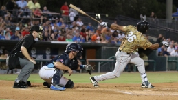 Myrtle Beach Pelicans v Down East Wood Ducks batsman Luis La O