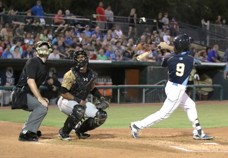 Connor Myers swings for Myrtle Beach Pelicans v Down East Wood Ducks