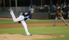 Casey Bloomquist pitches for Myrtle Beach Pelicans v Down East Wood Duckss